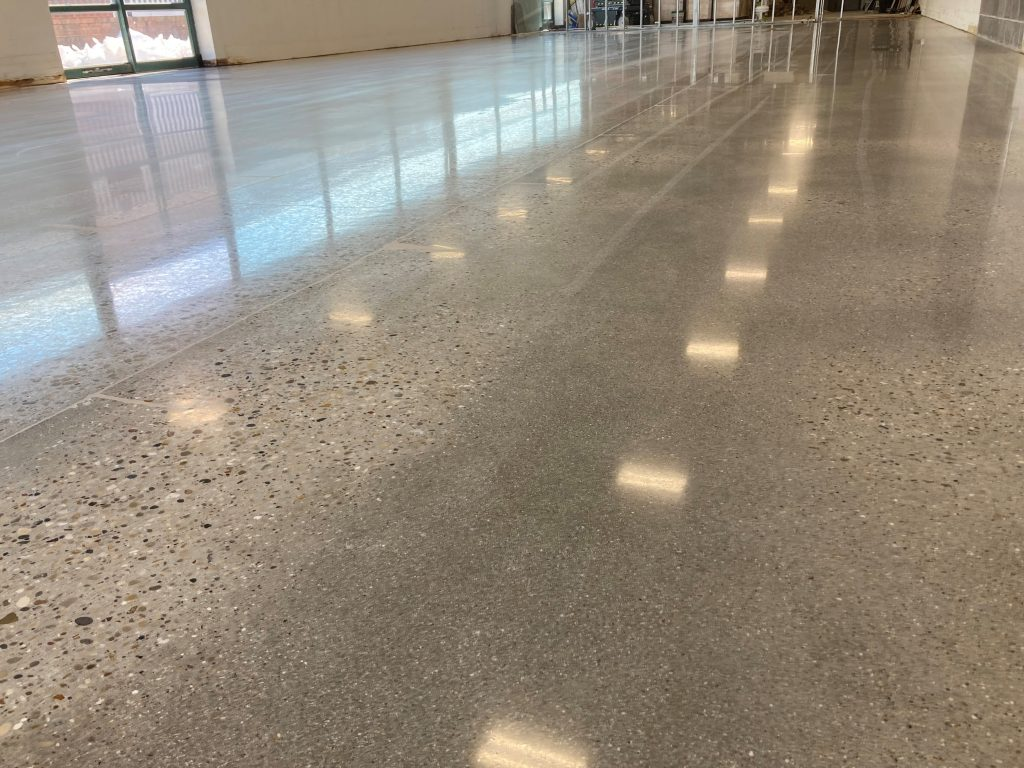 Uneven Aggregate Appearance In Polished Concrete Floor